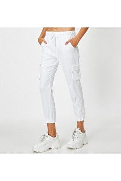Kadın Bel Bağlamalı Beyaz Pantolon