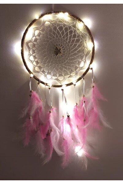 Hd Marketim Led Işıklı Düş Kapanı Dreamcatcher Renkli Kuş Tüyü Rüya Kapanı Duvar Süsü Elişi 9059