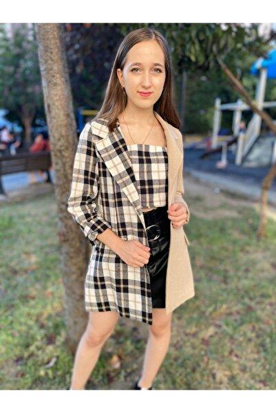 NAZCA MODA Kadın Blazer Keten Ceket Ekose Crop Bluz Takım