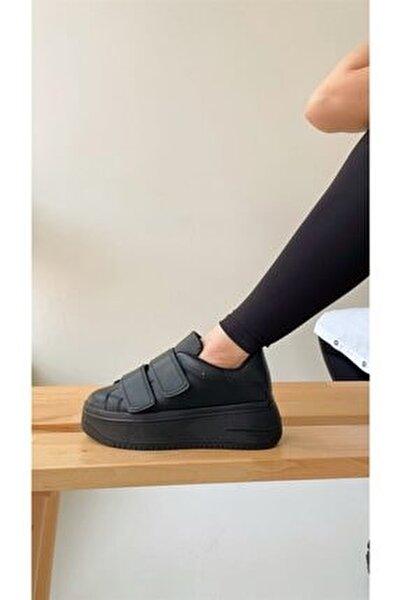 Kadın Siyah Cırt Cırtlı Sneaker Spor Ayakkabı-Taban 5 cm-Yürüyüş Ayakkabısı Yüksek Tabanlı Bantlı