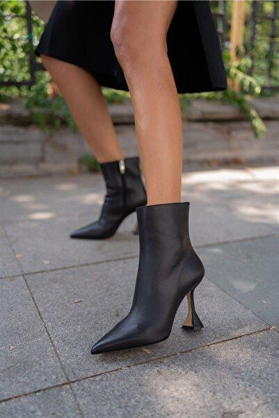 Sofia Baldi Varvara Siyah Deri Kadın Topuklu Bot