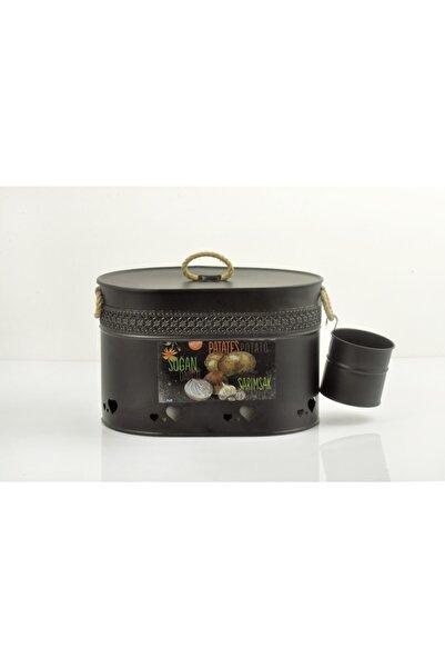 ENASHOP Mutfak Oval Içi Bölmeli Metal Patates Soğan Sarımsaklık Siyah