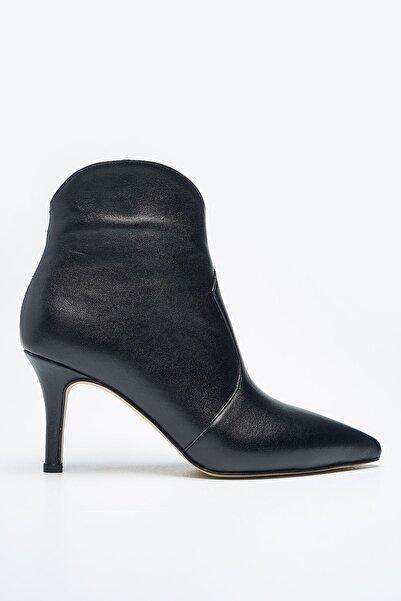 Louis Cardy Moneta Siyah Hakiki Deri Kadın Topuklu Bot
