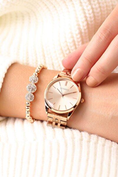 Homies Rose Renk Kadın Kol Saati ( Bileklik Hediyeli )