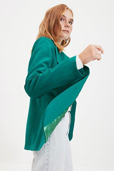 TRENDYOLMİLLA Yeşil Düğmeli Ceket TWOAW22CE0054