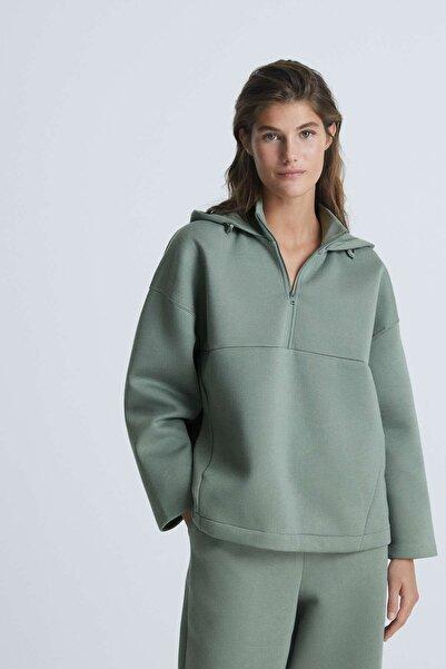 Oysho Kadın Yeşil Scuba Sweatshirt