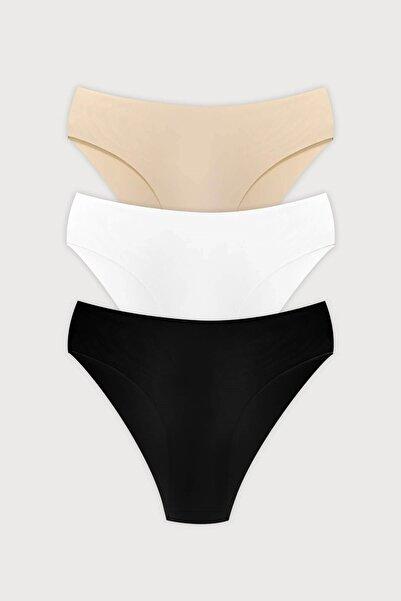 Cottonhill Klasik Basic Lazer Kesim Bikini Külot 3'lü Paket - 3