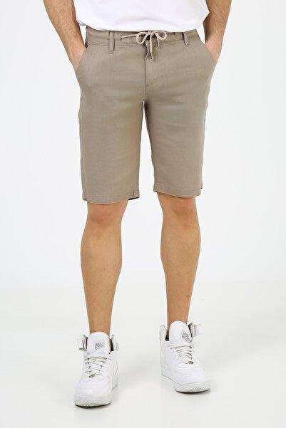 muzzo jeans Erkek Bej Lastikli Keten Şort