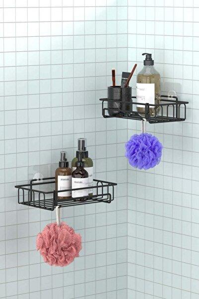 Teknotel Yapışkanlı Kancalı 2 Adet Banyo Rafı Mat Siyah St242h