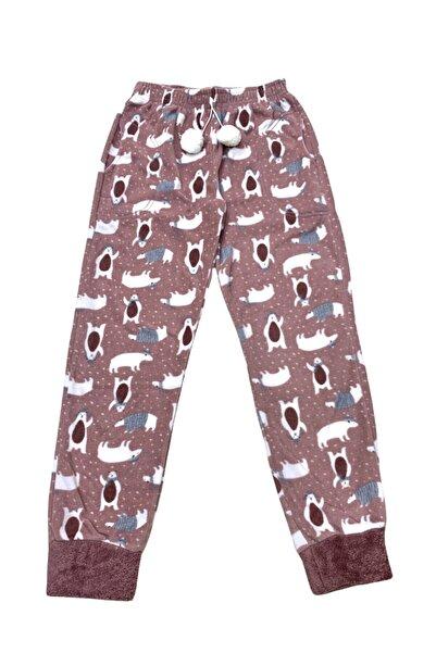 OMODAM Kadın Slim Fit Desenli Tek Alt Peluş Polar Çepli Pijama