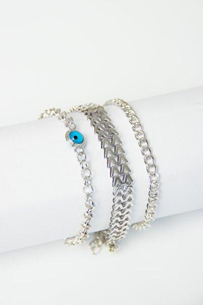 Modex Gümüş Rengi Nazarlı Üçlü Zincir Bileklik