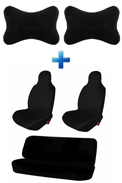 Mesear Fiat Albea Oto Koltuk Servis Kılıfı Atlet Kılıf Seti Logosuz Araba Siyah Yastık 2 Adet