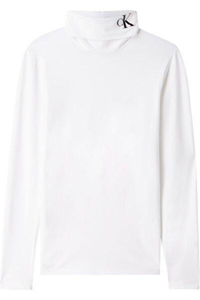 Calvin Klein Kadın Beyaz Neck Ck Sılıcone Ls Roll Neck Tshirt