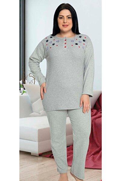 WIND Yeni Sezon Kadın   Anne Mor Yıldız Detaylı Kaşkorse Kışlık Pijama Takımı