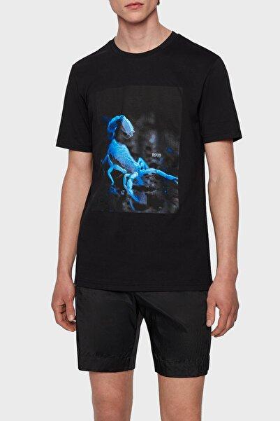 Hugo Boss Regular Fit Baskılı Bisiklet Yaka % 100 Pamuk T Shirt Erkek T Shirt 50453648 003