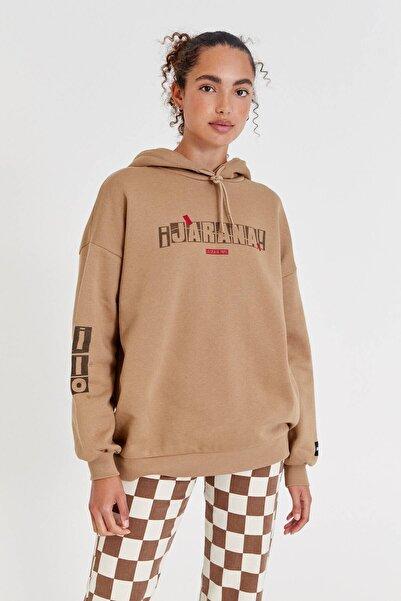 "Pull & Bear ""bella Ciao"" Sloganlı, Haki La Casa De Papel X Pull&bear Kapüşonlu Sweatshirt"