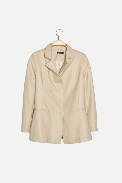 TRENDYOLMİLLA Bej Düğmeli Blazer Ceket TWOAW22CE0202