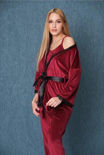 Meba Kadın Kadife Dantel Detaylı 3'lü Kırmızı Sabahlıklı Pijama Takımı 1582-2