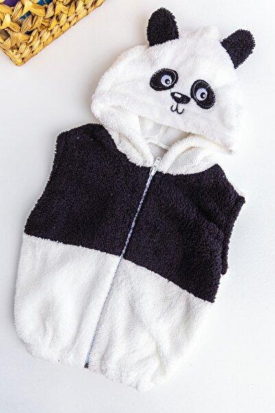 Babymod Panda Figürlü Kapüşonlu Polar Erkek Bebek Yelek