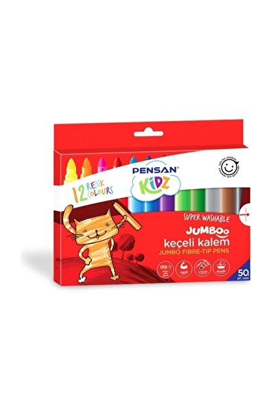 Pensan Kidz 12 Renk Yıkanabilir Jumboo Keçeli Kalem Kampanyalı