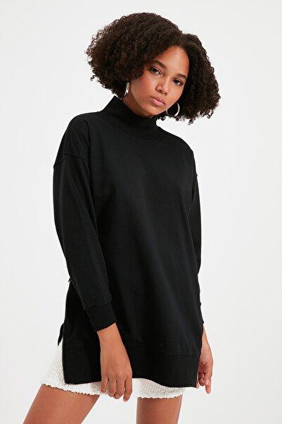 TRENDYOLMİLLA Siyah Fermuar Detaylı Oversize Örme İnce Sweatshirt TWOAW20SW0322
