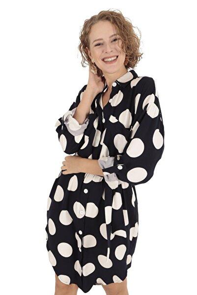 BUKETLİ Kadın Lacivert Puantiyeli Gömlek Elbise