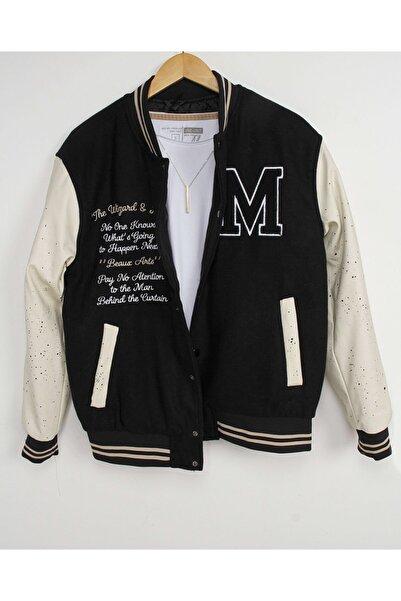İnan Store Erkek Lacivert Deri Kol Nakışlı Kolej Ceket