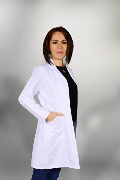 Apak giyim Kadın Normal Yaka Uzun Önlük Beyaz