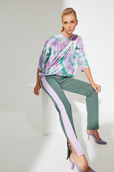 TRENDYOLMİLLA Yeşil Şeritli Örme Pantolon TWOAW22PL0231