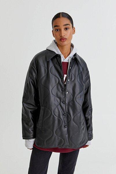 Pull & Bear Basic siyah suni deri ince ceket