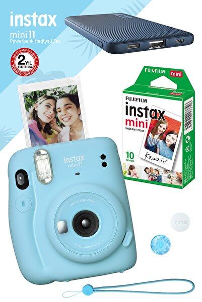 Fujifilm Instax Mini 11 Mavi Fotoğraf Makinesi 10'lu Film Mavi Powerbank