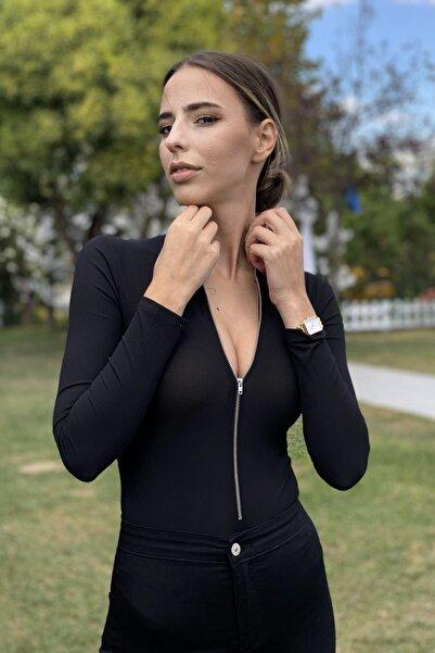 CurcunaShop Kadın Fermuarlı İpek Jarse Bodysuit