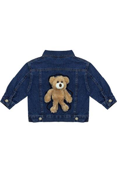 Kids Of Heart Koyu Mavi Kahve Ayılı Kot Ceket