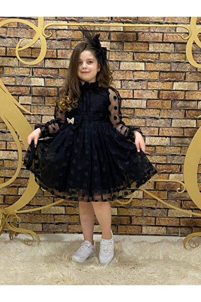 Pumpido Kız Cocuk Siyah Puanlı Tokalı Abiye Düğün Elbisesi