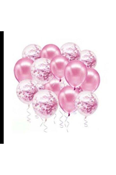 Deniz Party Store Pembe Konfetili Şeffaf Balon Metalik Pembe Balon Seti 20 Adet