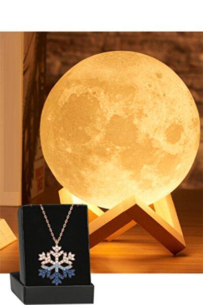 REWEL 3d Standlı Büyük Boy Ay Gece Lambası Hediyelik Küre Led Ve Gümüş Zirkon Kar Tanesi Kolye