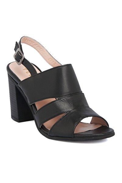 Tergan Siyah Deri Kadın Ayakkabı 64320a23
