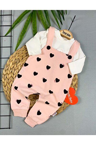 CAN BABY Kız Bebek Kalp Baskılı Slopet Bebek Takımı Tulum