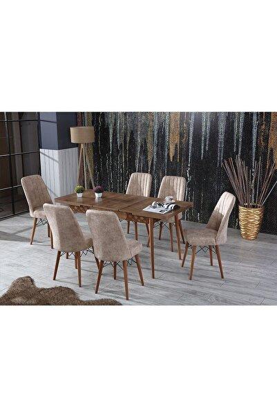 Alıcıoğlu Avm Perla Çizgili Ceviz Yemek Masası Mutfak Masası Açılır Masa Takımı 6 Sandalyeli Açık Cappucino