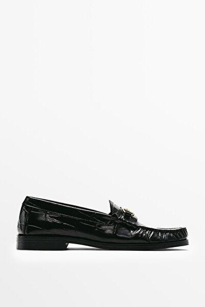 Massimo Dutti Desenli Siyah Deri Makosen Ayakkabı