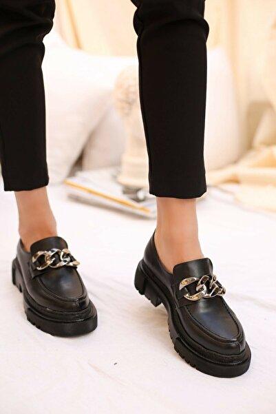 LEONILL Kadın Günlük Siyah Loafer Zincir Detay Ayakkabı