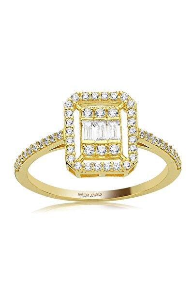 Valori Jewels 0.30 Karat Zirkon Baget Taşlı, Altın Rengi Gümüş Tektaş Yüzük