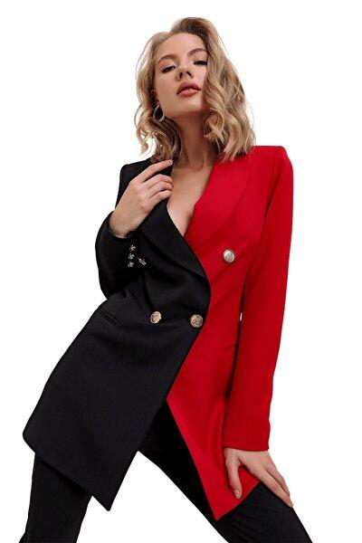 butikburuç Kadın Kırmızı Çift Renk Kruvaze Yaka Ceket