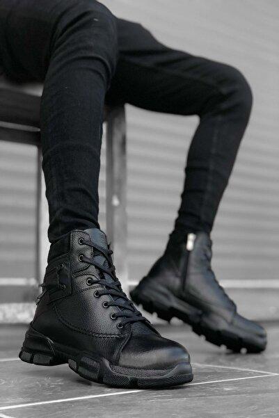 Mida Shoes Içi Dışı Hakiki Deri Siyah Erkek Postal Bot