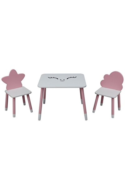 Picaline Pembe Dikdörtgen Masa , 1 Yıldız Sandalye, 1 Bulut Sandalye