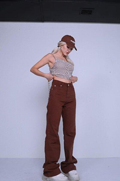 HOLLY LOLLY Kadın Kahverengi Yüksek Bel Gabardin Slim Flare Marron Pantolon