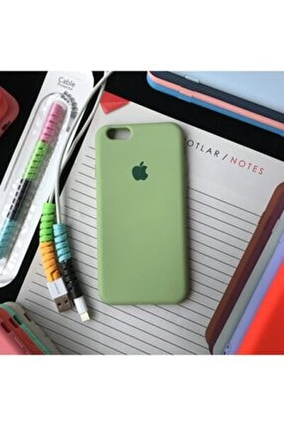 Iphone 6 Ve 6s Uyumlu Logolu Lansman Kılıf Ve Kablo Koruyucu Makaron