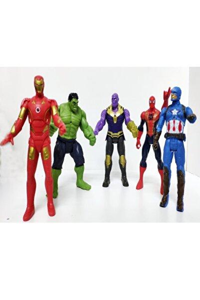 MARVEL Büyük Boy 5 Li Avanger Işık 21 Cm Set Örümcek Adam Demir Adam Hulk Thanos Kaptan Amerika Figür