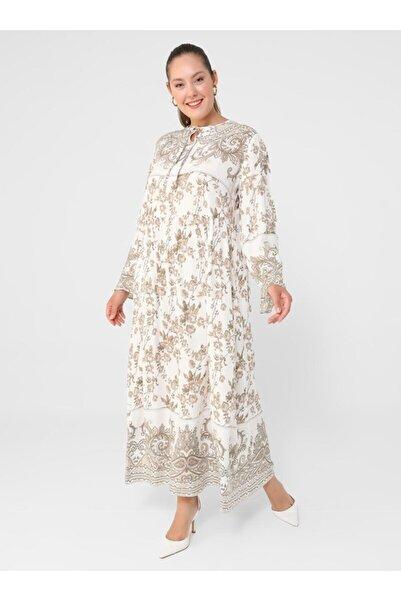 ALİA Büyük Beden Doğal Kumaşlı Desenli Elbise Ekru Haki