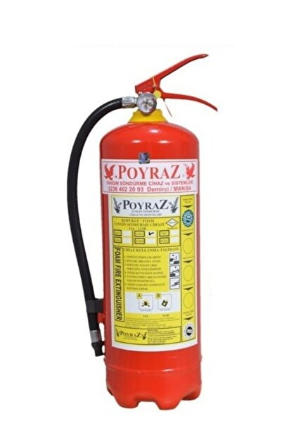 POYRAZ 6kg Yangın Söndürme Tüpü Köpüklü 4 Yl Askı Aparatı+levha +dübel+vida Hediy
